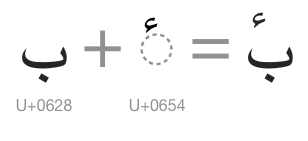 Image of composing U+0628 and U+0654